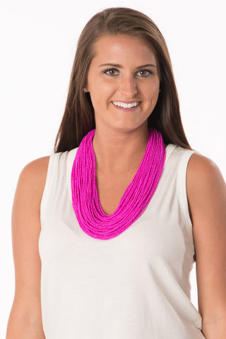 Beaded Statement Necklace - Fuchsia
