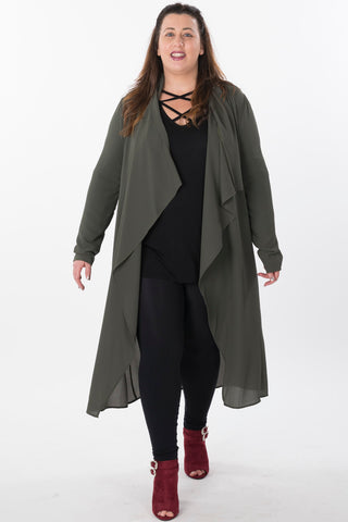 Waterfall Trench Jacket Cardigan - Plus