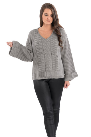 Wide Sleeve Cable Knit Sweater