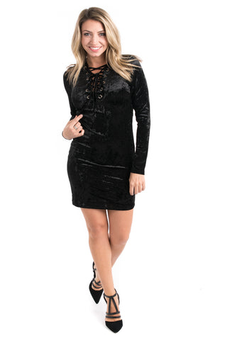 Velvet Lace-Up Bodycon Dress