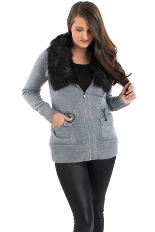 Fur Trim Utility Sweater