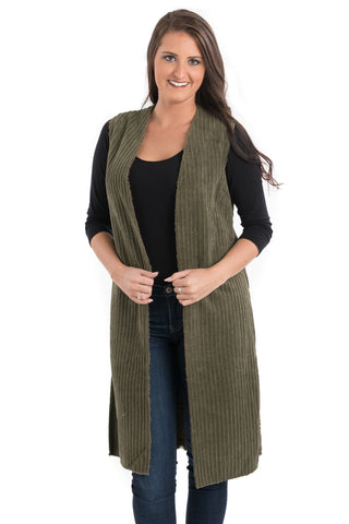 Long Open Corduroy Vest