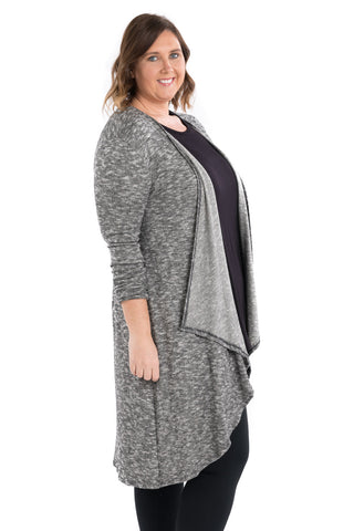 Drape Front Knit Cardigan - Plus