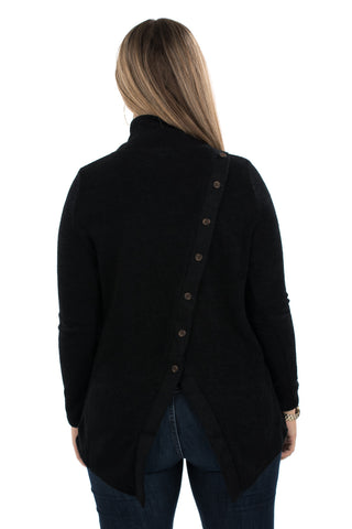 High Neck Back Button Sweater