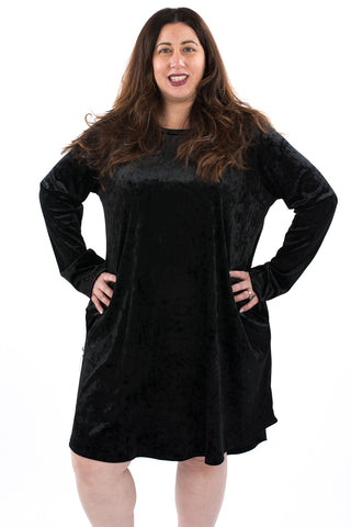 Crushed Velvet Swing Dress - Plus