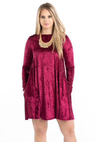 Crushed Velvet Swing Dress