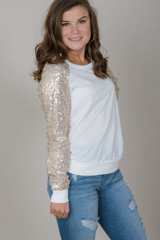 Sequin Raglan Top