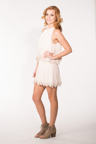 Lace Trim Overlay Dress