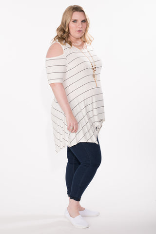 Cold Shoulder Striped Tunic - Plus