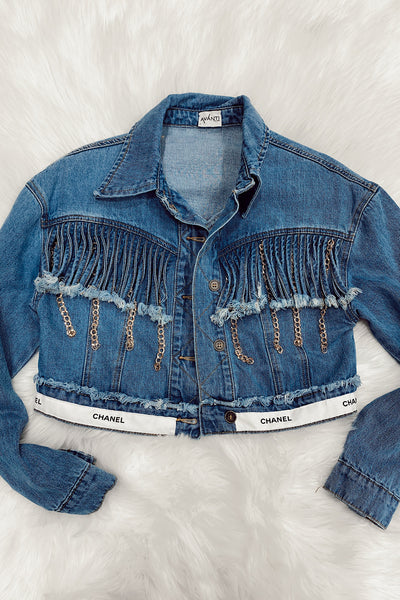 Upcycled Chanel Ribbon Denim Jacket