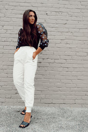 White Faux Leather Joggers