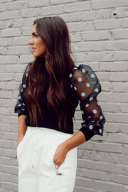 Polka Dot Sleeve Turtle Neck