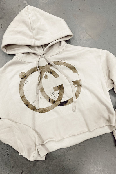 GG Designer Inspired Cropped Hoodie
