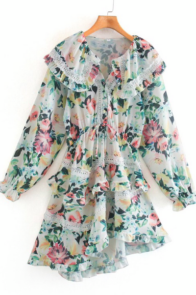 Asymmetrical Floral Mini Dress