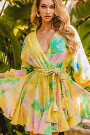 Yellow Tie Dye Twirl Dress