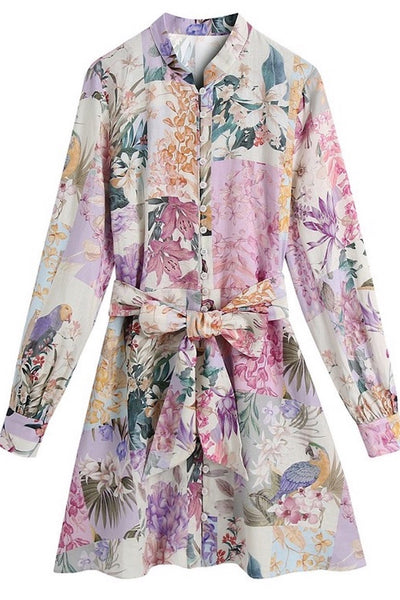 Blooming Belted Dress