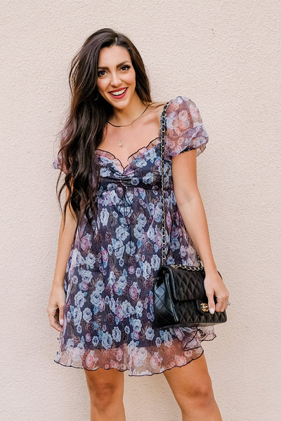 Downtown babydoll puff sleve dress