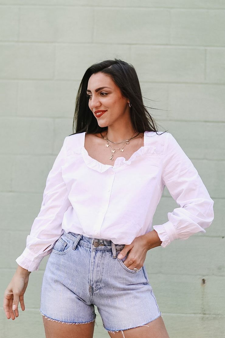 Not So Basic White Ruffle Button Up