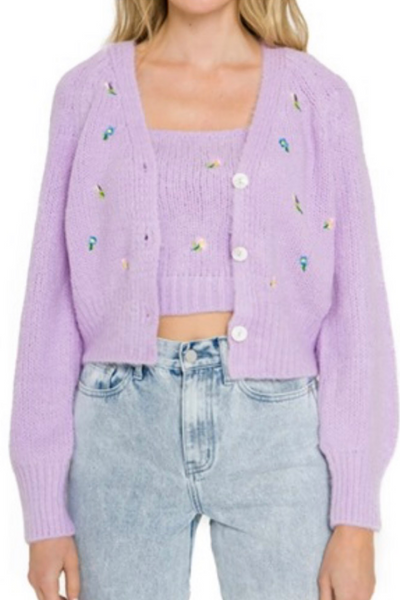 Lavender Embroidered Cardigan Set