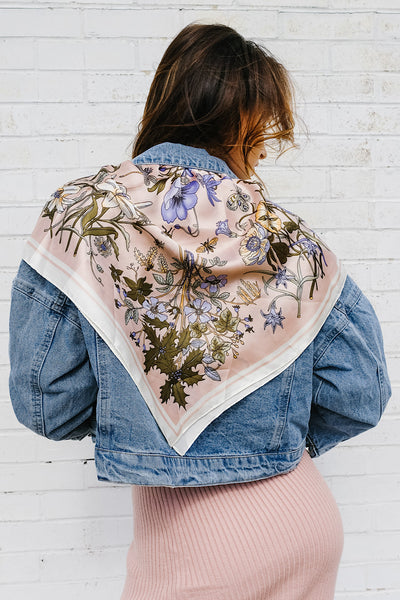 Floral Fields Scarf Denim Jacket