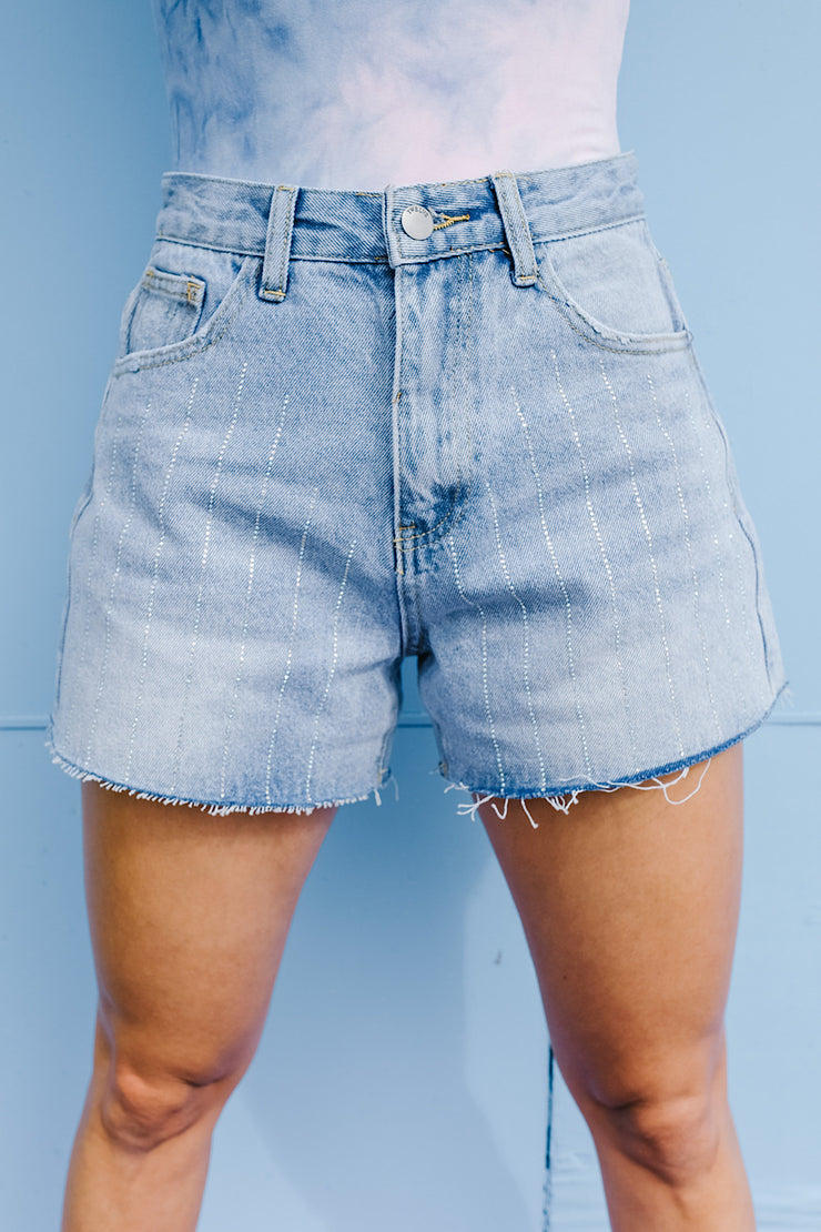 rhinestone denim shorts