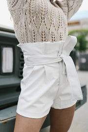 White Leather Paper Bag Shorts