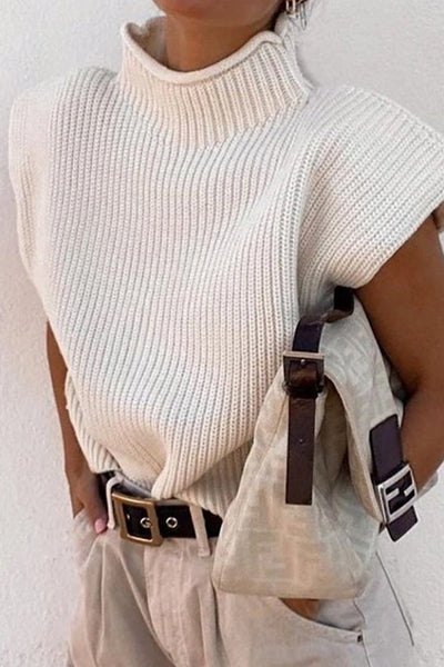 Sleeveless High Collar Sweater