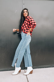 Wide Leg Crop Jeans with Side Slit