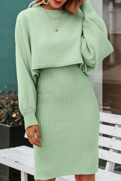 Ribbed Dress and Sweater Set
