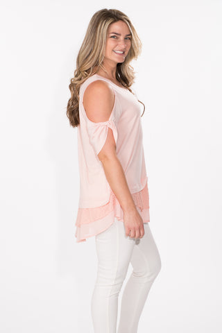 Lace Detail Cold Shoulder Top