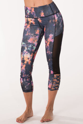 Splatter Mesh Crop Leggings