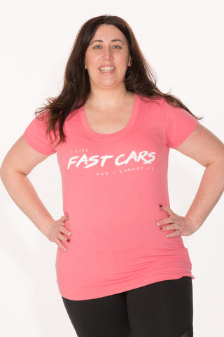 Fast Cars Tee - Plus - Coral