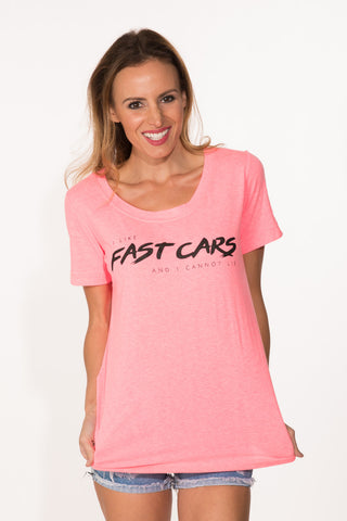 Fast Cars Tee - Neon Pink