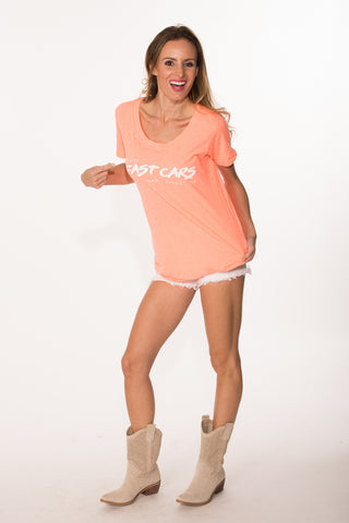 Fast Cars Tee - Neon Coral
