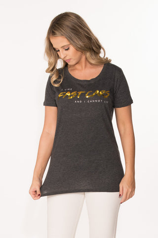 Fast Cars Tee - Charcoal