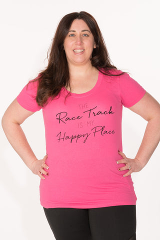 Race Track Tee - Plus - Fuchsia/Black