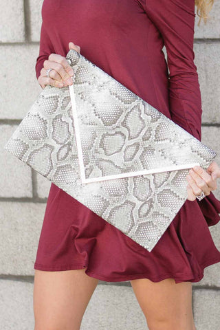 Large Snakeskin Envelope Clutch