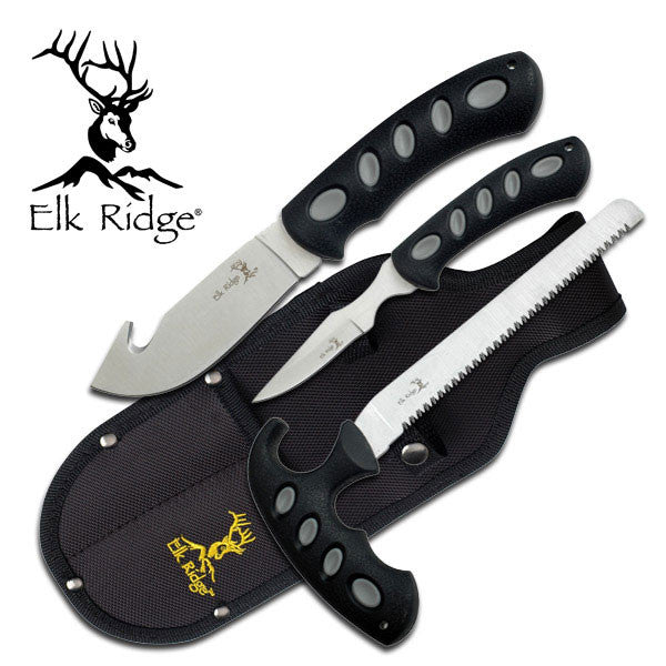 Master Cutlery Elk Ridge ER-252 HUNTING KNIFE SET 3 PIECE SET