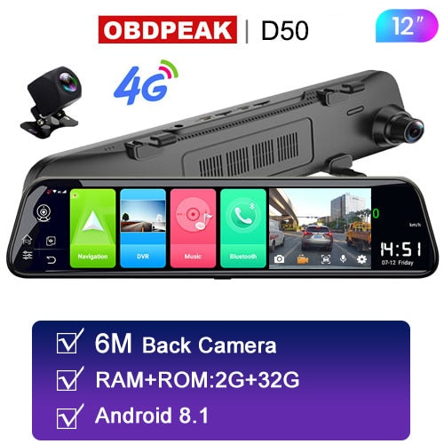 Android Rearview Car Mirror - The D80 - DVR HD 1080P Rearview Camera with GPS - Ignite Shopping