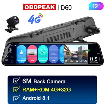 Android Rearview Car Mirror - The D80 - DVR HD 1080P Rearview Camera with GPS