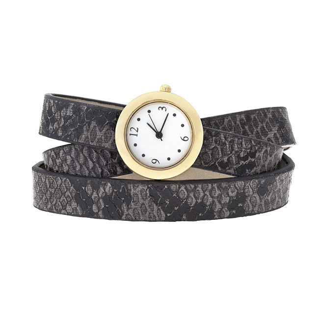 Grey Snakeskin Wrap Watch Synthetic Leather