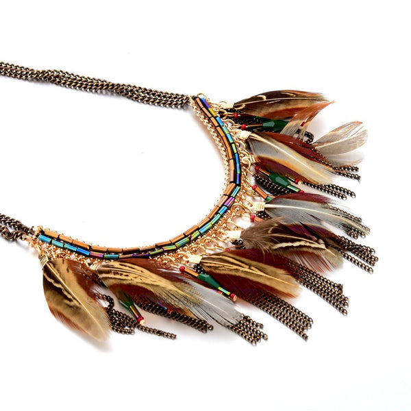 Feather Natural Stone Necklace