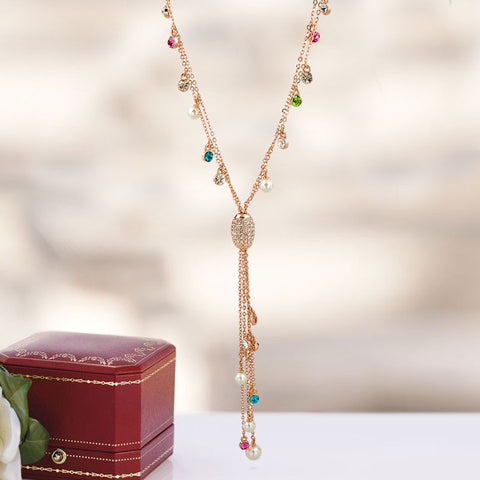 Multicolor Pendant Long Necklace