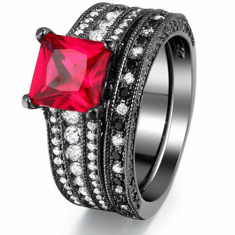 Black and Red Cubic Zirconia Ring