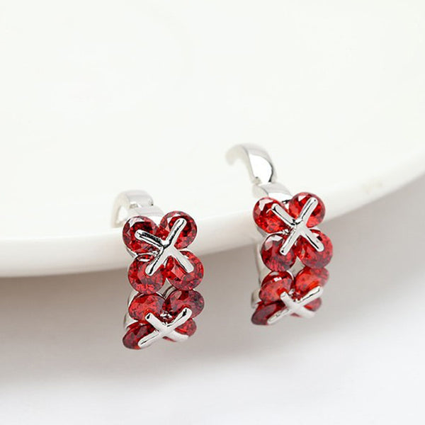 Red Cubic Zircon Clip-on Earrings