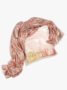 Blush and Gold Marble Throw Pillow