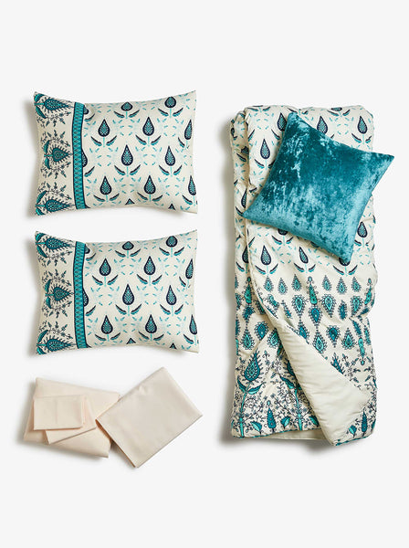 Teal Drops Comforter Bed Set