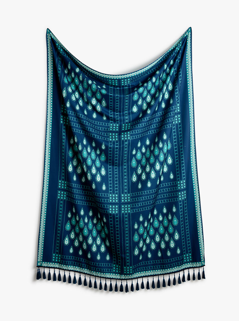 Teal Fringed Tapestry