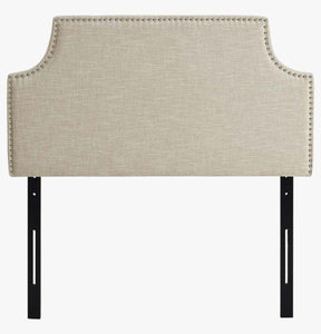 Beige Scoop-Edge Headboard