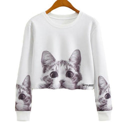 Long Sleeve Cat Crop Top - Crazy Fox